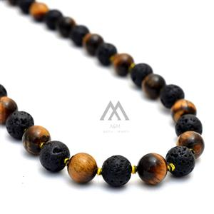 Tiger Eye-Lava 108 Meditation Mala