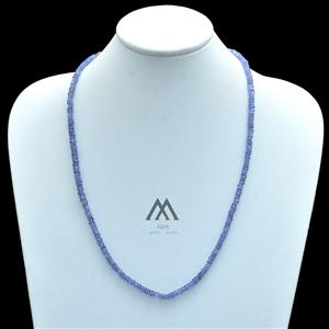 Blue Tanzanite Rondelle Beaded Necklace
