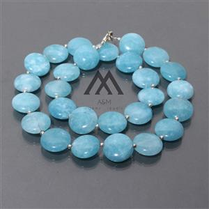 Cloudy Blue Agate Beaded Necklace
