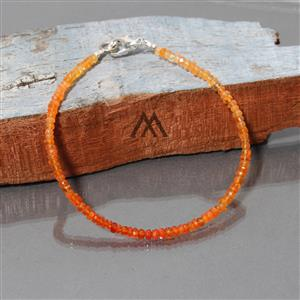 Genuine Mexican Fire Opal Faceted Beads Bracelet