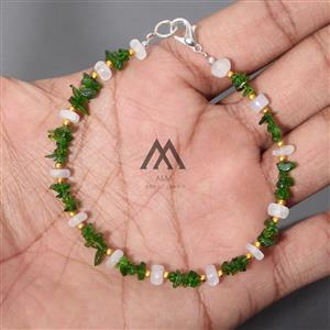 Green Chrome Diopside With Moonstone Beads Bracelet