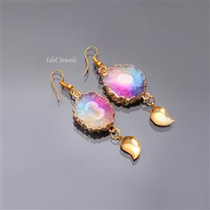 Multicolor Round Druzy Gold Earring