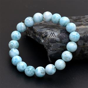 Natural 10mm Larimar Smooth Smooth Beaded Bracelet
