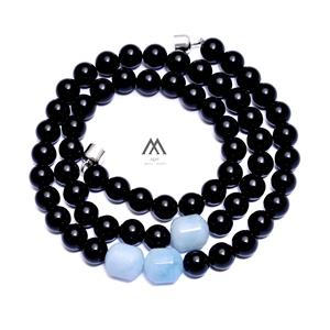 Real Aquamarine With Black Onyx Necklace