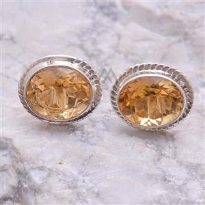 Sharp Faceted Round Citrine Studs Earring